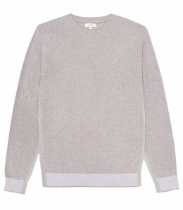 Reiss Morton - Colour Block Crew Neck Jumper in Taupe, Mens, Size XXL