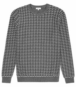 Reiss Sampson - Stitch Detail Crew Neck Jumper in Grey, Mens, Size XXL