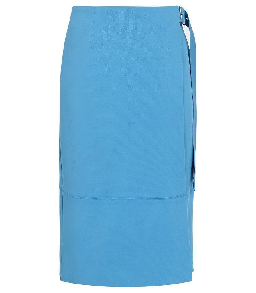 Reiss Belle Skirt - Wrap Front Skirt in Blue, Womens, Size 14