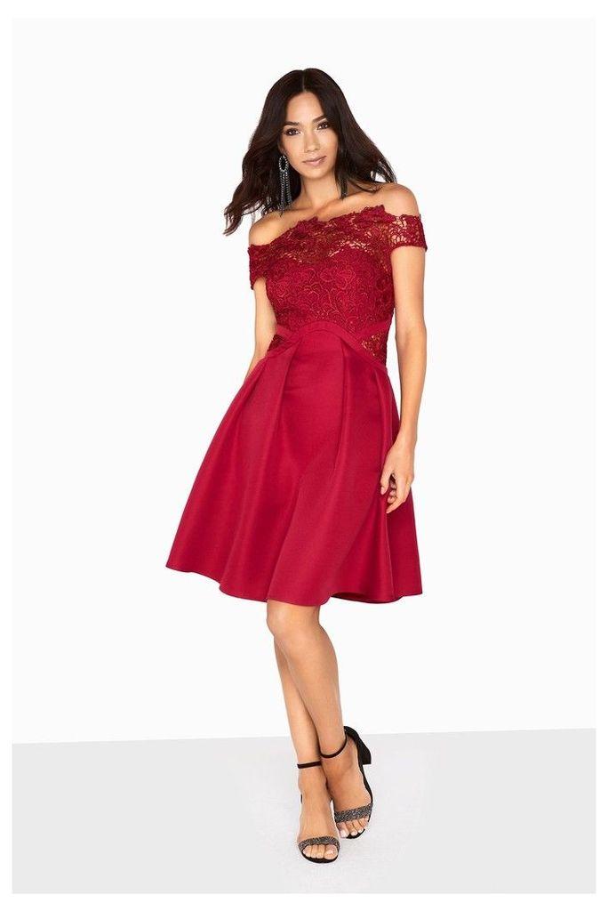 Womens Little Mistress Lace Insert Skater Dress -  Red