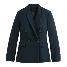 Longline Double-Breasted Blazer with Patch Pockets