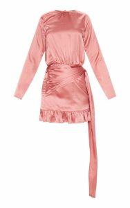 Rose Satin Drape Frill Hem Bodycon Dress, Pink