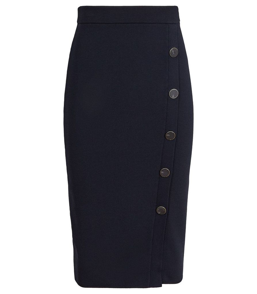 Reiss Hatty - Button Front Pencil Skirt in Navy, Womens, Size XXL