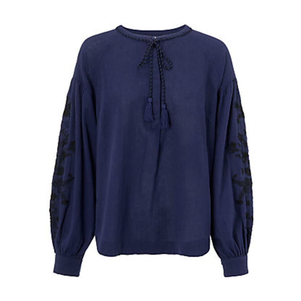 AND/OR Embroidered Blouson Sleeve Blouse, Blue