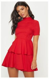 Red Cap Sleeve Tiered Skater Dress, Red