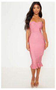 Rose Frill Hem Bandage Midi Dress, Pink