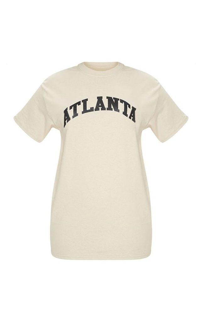 Sand Atlanta Slogan Oversized T Shirt, Sand