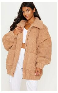 Camel Oversized Borg Pocket Front Coat, Camel