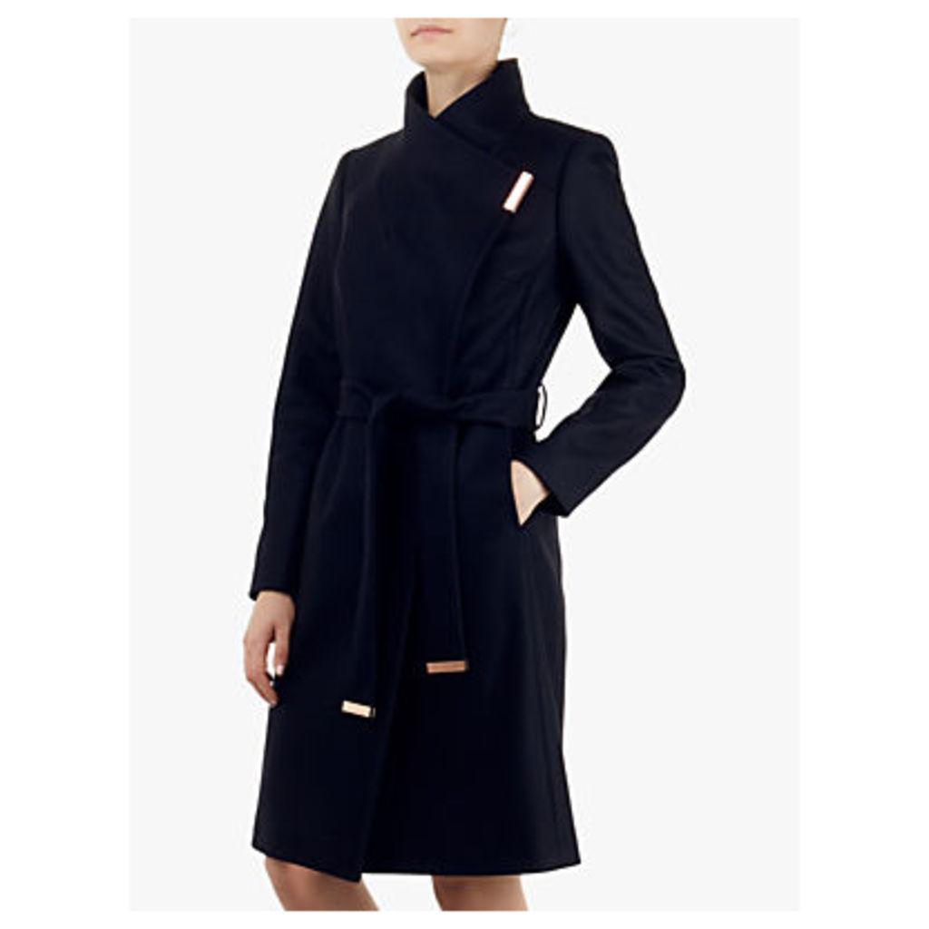 Ted Baker Sandra Wrap Front Coat, Dark Blue