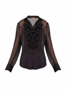 Womens *Jolie Moi Black Pink Polka Dot Blouse- Black, Black