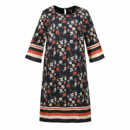 Floral Print Midi Shift Dress with 3/4 Length Sleeves