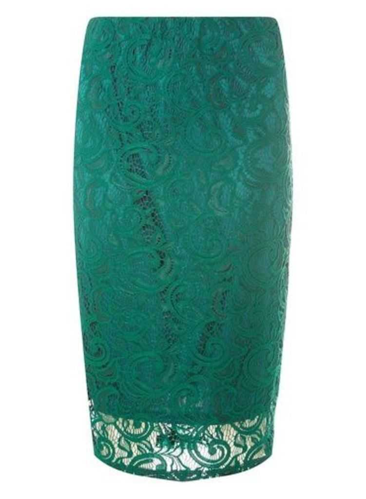 Womens Green Lace Pencil Skirt- Green, Green