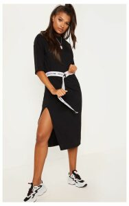 Black Oversized Midi T Shirt Dress, Black