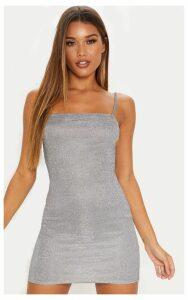 Silver Glitter Strappy Square Neck Bodycon Dress, Grey