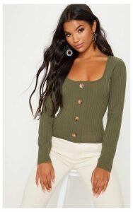 Khaki Long Sleeve Rib Button Detail Top, Green
