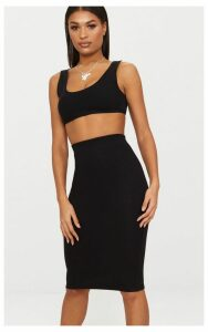 Black Second Skin Bodycon Midi Skirt, Black