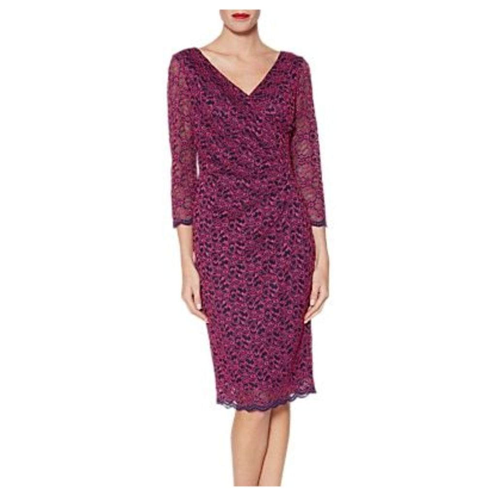 Gina Bacconi Emery Lace Wrap Dress, Fuchsia