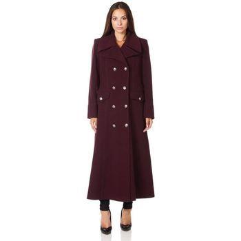 De La Creme  Military Cashmere Wool Winter Coat Fur Collar  women's Coat in Red