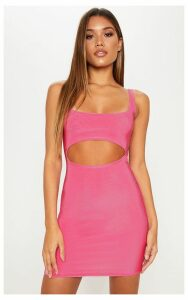 Pink Double Layered Slinky Cut Out Centre Bodycon Dress, Bubblegum Pink