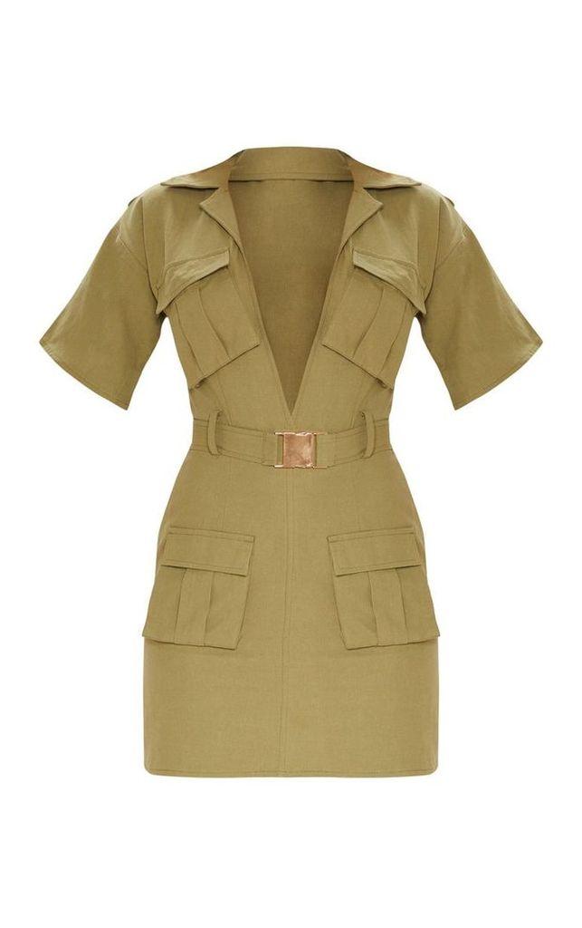 Khaki Cargo Utility Gold Buckle Pocket Detail Bodycon Dress, Green