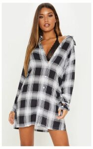 Black Oversized Checked Lightweight Shirt Dress, Black