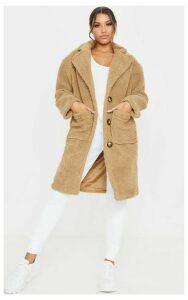 Camel Borg Longline Coat, Camel
