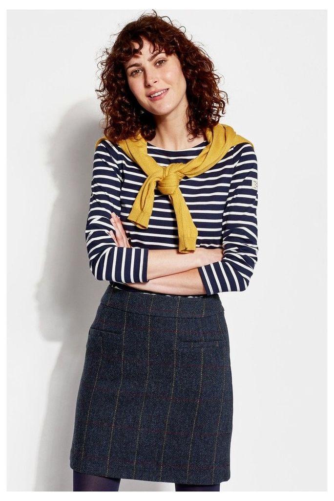 Womens Joules Sheridan Check Tweed Skirt -  Blue