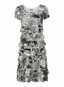 Womens *Roman Originals Black Paisley Print Frill Dress- Black, Black