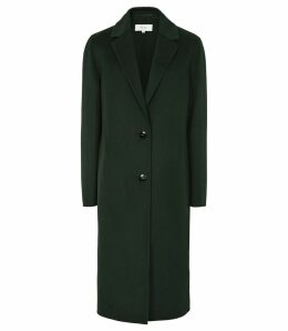 Reiss Berkley - Blind Seam Longline Overcoat in Green, Womens, Size M
