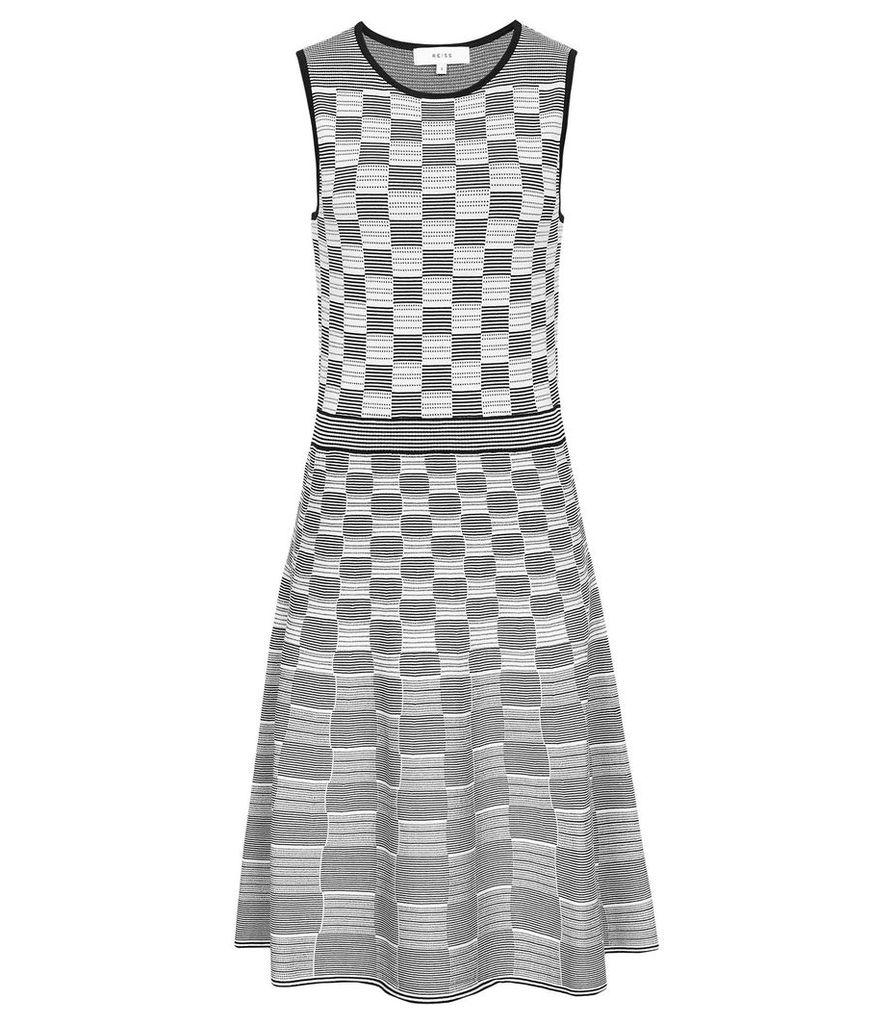 Reiss Cassie - Jacquard Day Dress in Navy/white, Womens, Size XL