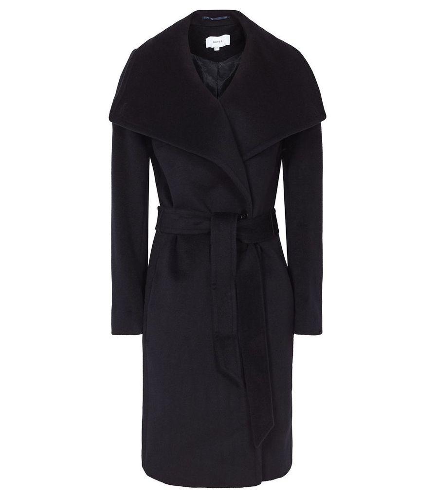 Reiss Luna - Wool Self Tie Coat in Navy, Womens, Size 4