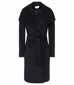 Reiss Luna - Wool Self Tie Coat in Navy, Womens, Size 4