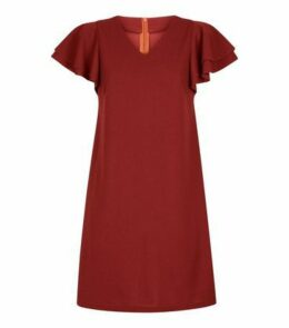 Mela Rust Frill Sleeve Dress New Look