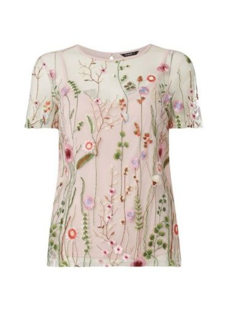 Womens *Roman Originals Floral Embroidered Top- Ivory, Ivory