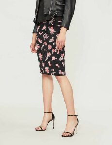 Jami floral-pattern woven pencil skirt