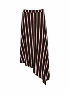 Black Striped Asymmetric Skirt, Black