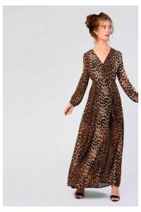 Womens **Leopard Print Maxi Dress By Glamorous - Brown, Brown