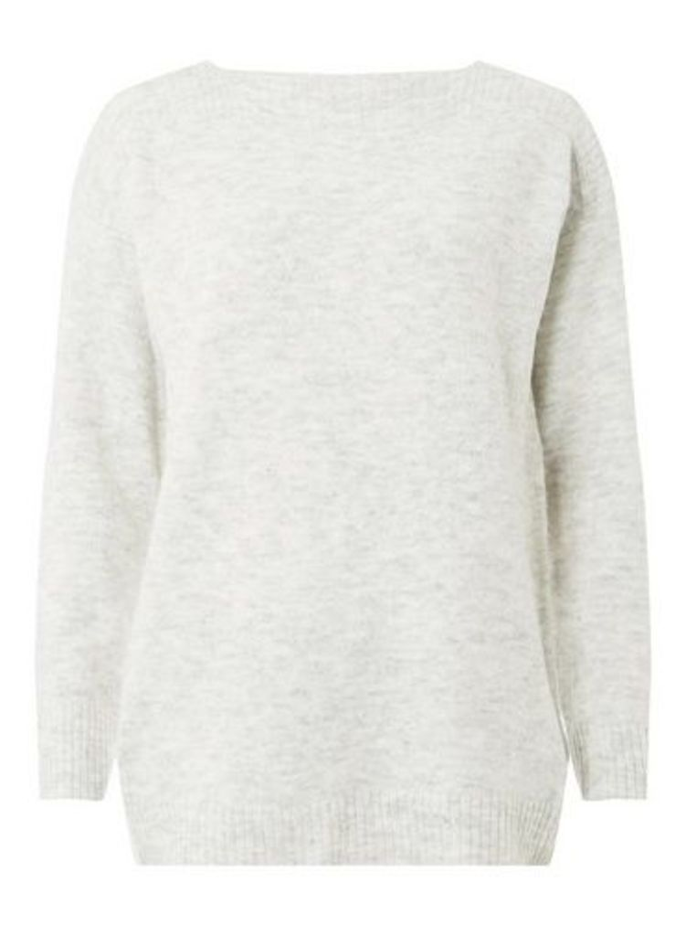 Womens Grey Wide Neck Jumper- Grey, Grey