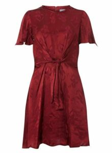 Womens Petite Port Knot Front Fit And Flare Dress- Red, Red