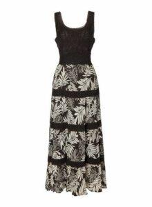 Womens *Roman Originals Monochrome Tropical Maxi Dress- Black, Black