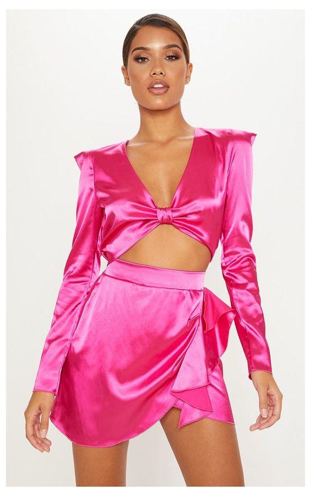 Hot Pink Satin Extreme Shoulder Twist Front Top, Hot Pink