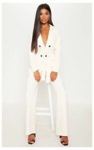 Cream Belted Longline Woven Blazer, White