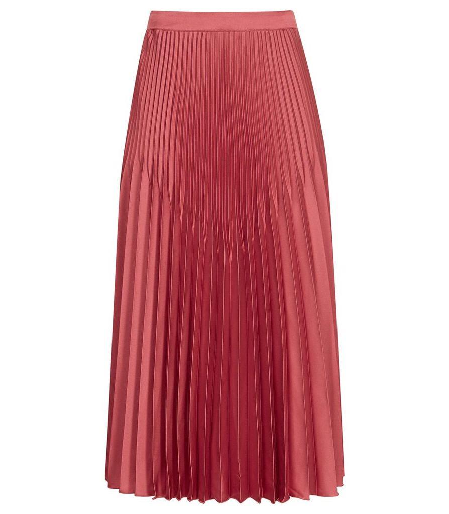 Reiss Isidora - Pleated Midi Skirt in Deep Blush, Womens, Size 14