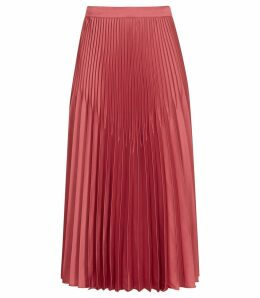 Reiss Isidora - Pleated Midi Skirt in Deep Blush, Womens, Size 14