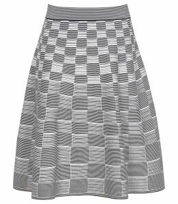 Reiss Isha - Jacquard A-line Skirt in Navy/white, Womens, Size XXL