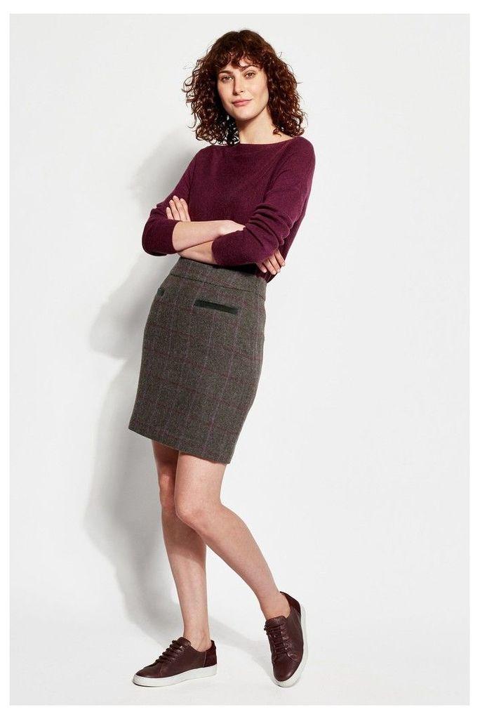 Womens Joules Sheridan Check Tweed Skirt -  Green
