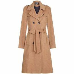 De La Creme  Winter Wool   Cashmere Belted Long Military Trench Coat  women's Coat in Beige