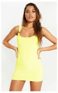 Yellow Slinky Ring Detail Square Neck Bodycon Dress, Yellow