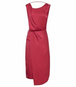Reiss Karina - Cross Back Cocktail Dress in Raspberry, Womens, Size 16