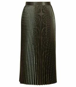 Reiss Evie - Chevron Pleated Skirt in Dark Green, Womens, Size 14
